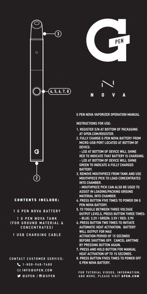 Nova G Pen Instructions