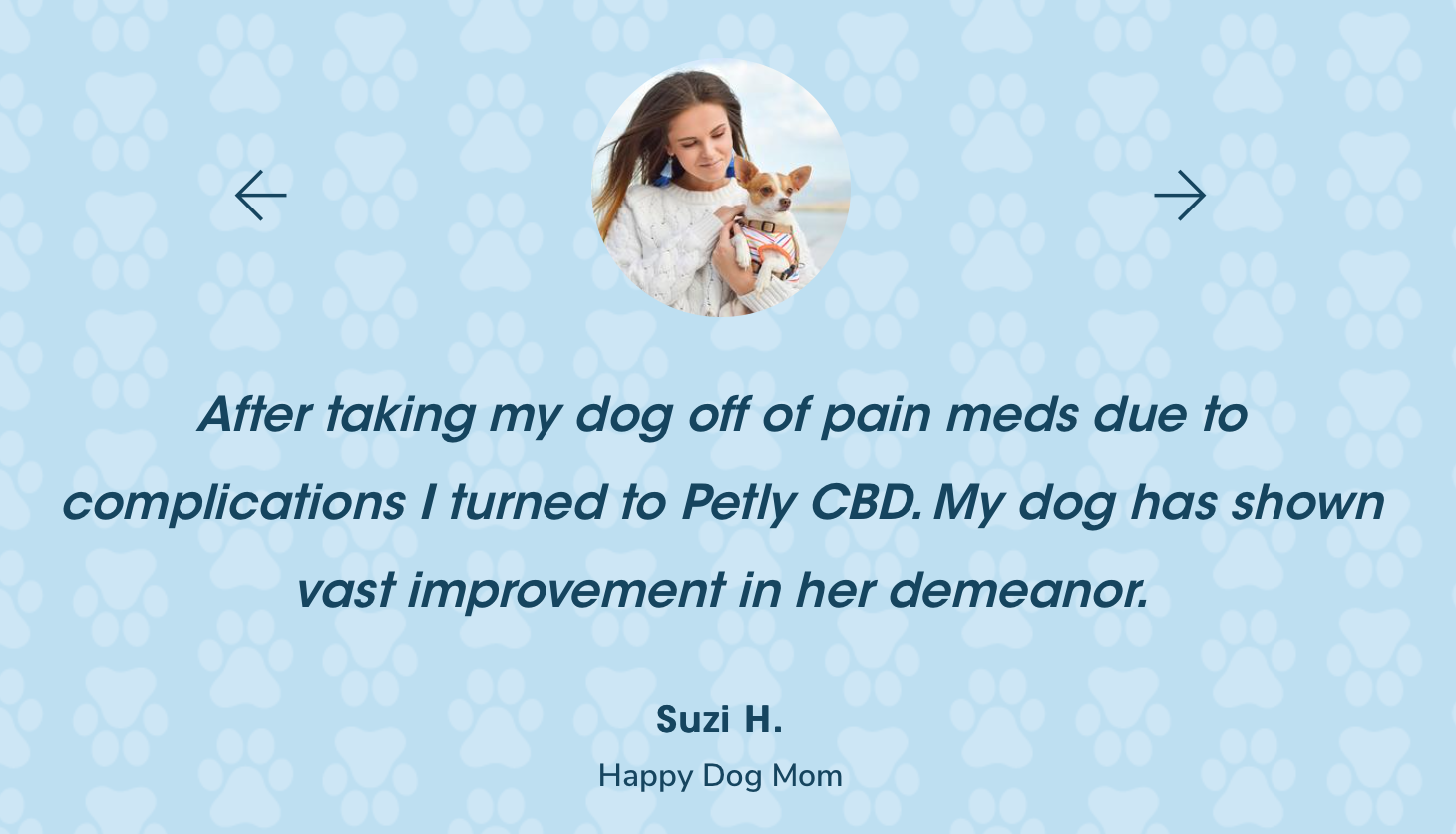 Endorsement for PETLYcbd From Suzi
